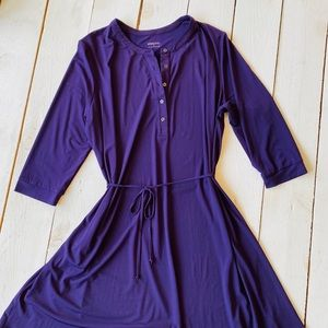 Merona Plus Size Purple Midi Dress with Tie Belt